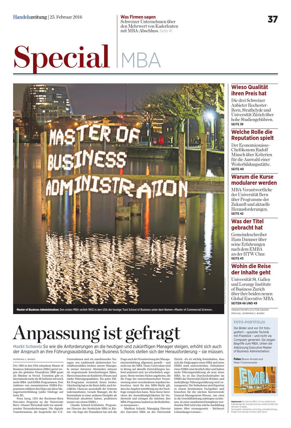 HZ Special «MBA» Februar 2016 by Ringier Axel Springer Schweiz AG ...