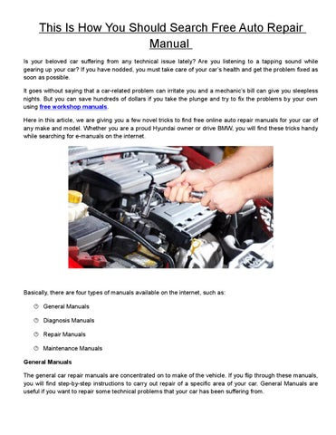 Auto Repair Manuals Free >> This Is How You Should Search Free Auto Repair Manual By