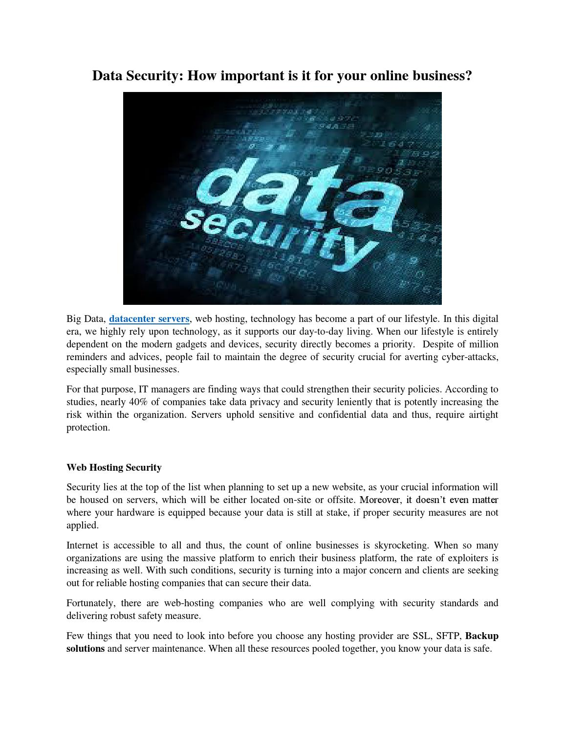 Data Security: How important is it for your online business