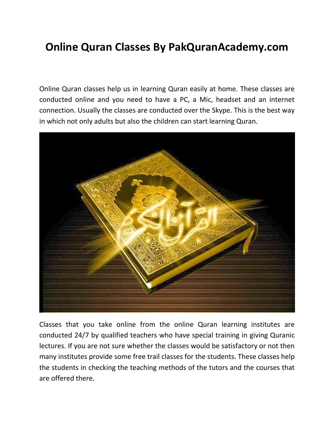 Online Quran Classes by Pak Quran Academy by Pak Quran