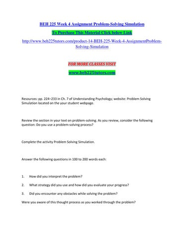 beh 225 week 4 assignment problem solving simulation