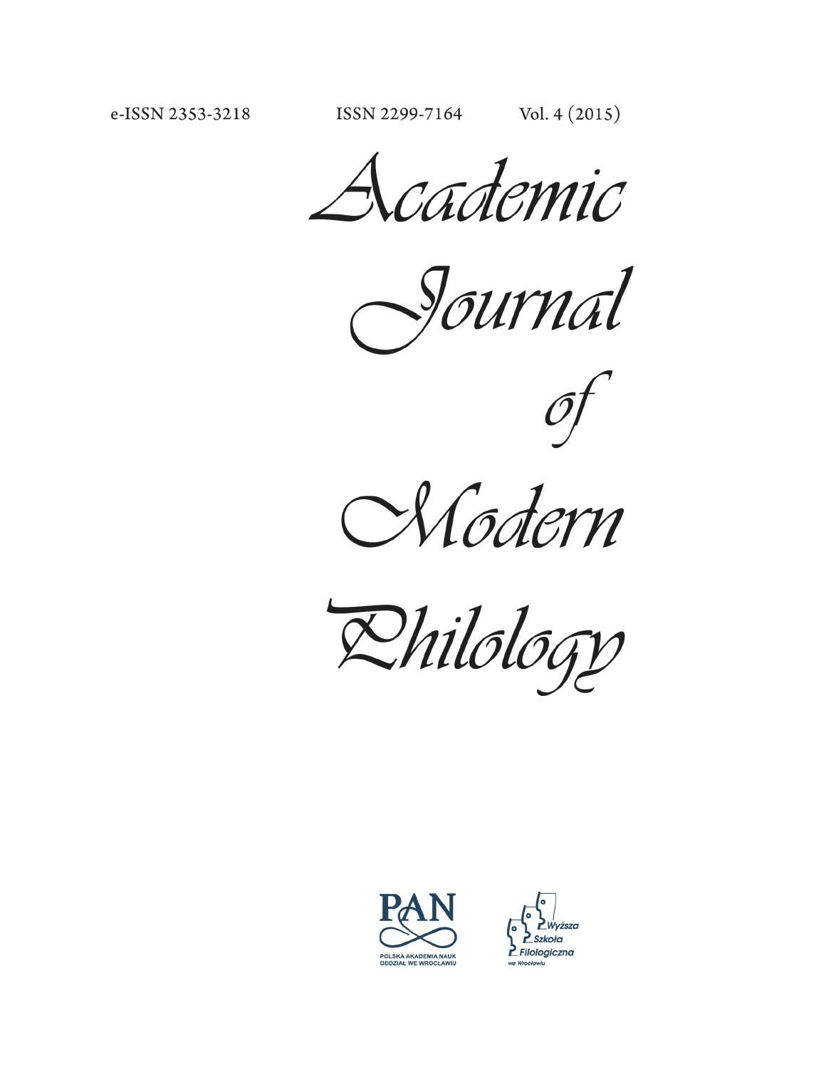 Academic Journal of Modern Philology vol. 4 (2015) by Wyższa Szkoła ...