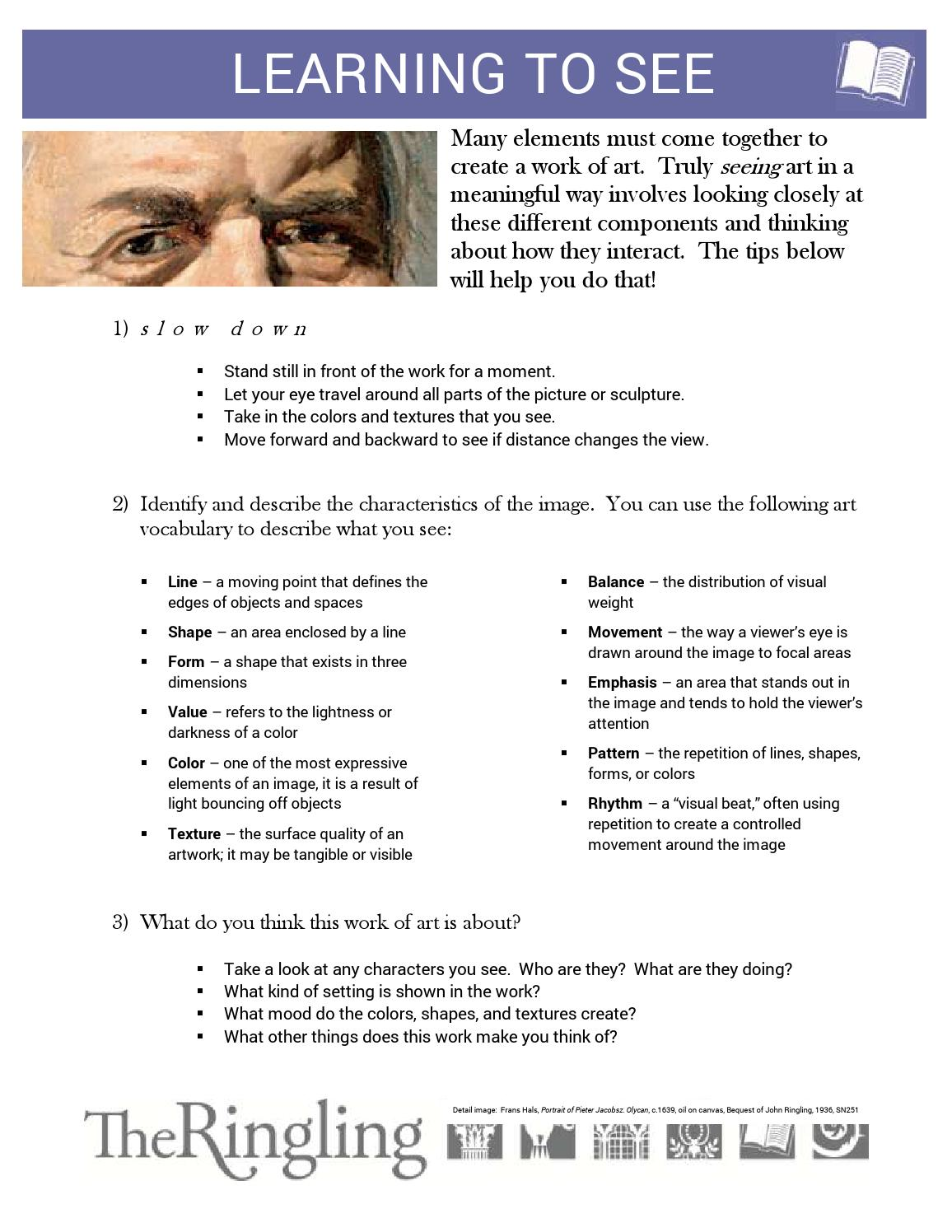 Gallery Worksheet: Learning to See by John and Mable Ringling Museum