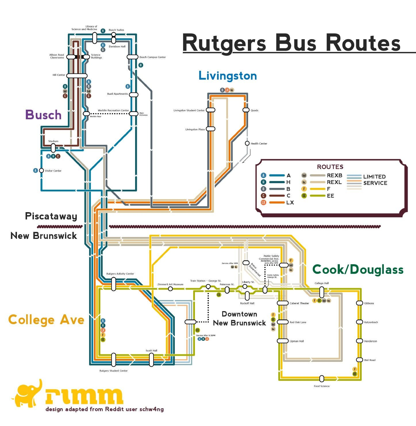 Rutgers Bus Route Map by Rutgers University Marketing and ...