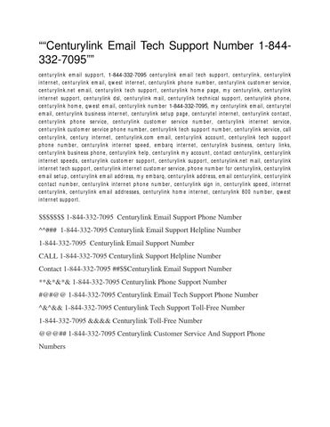 Centurylink Email Tech Support 1 844 332 7095 By Rileysmith247 Issuu