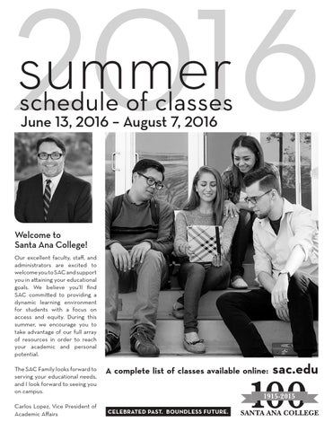 santa ana college spring 2016 schedule of classes by santa ana