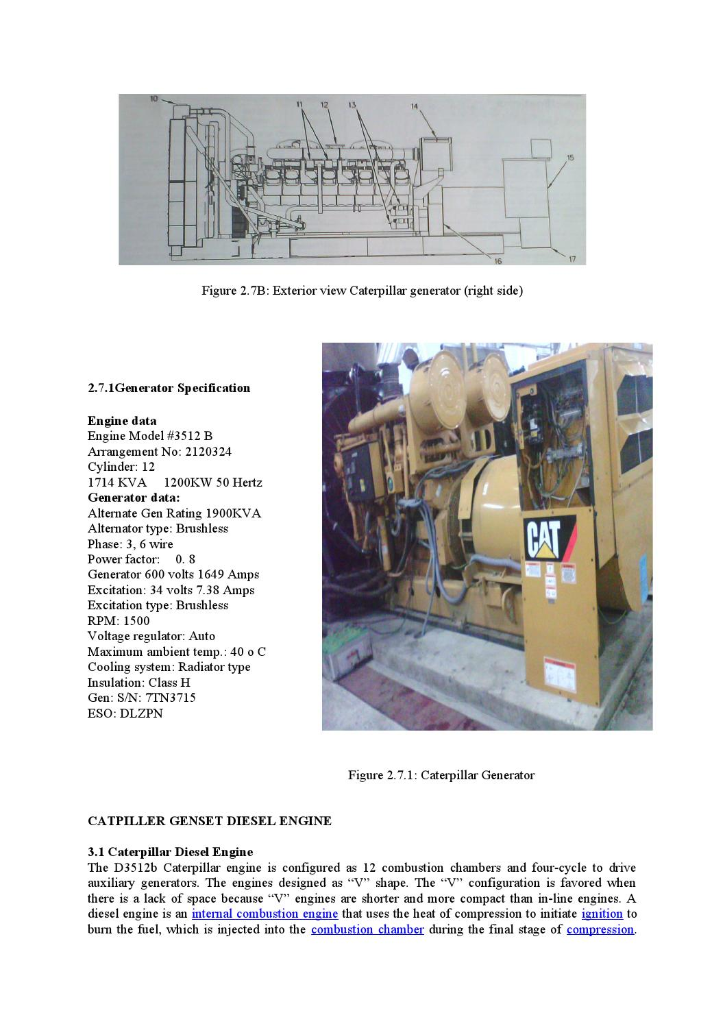 Power generation system and troubleshooting of caterpillar