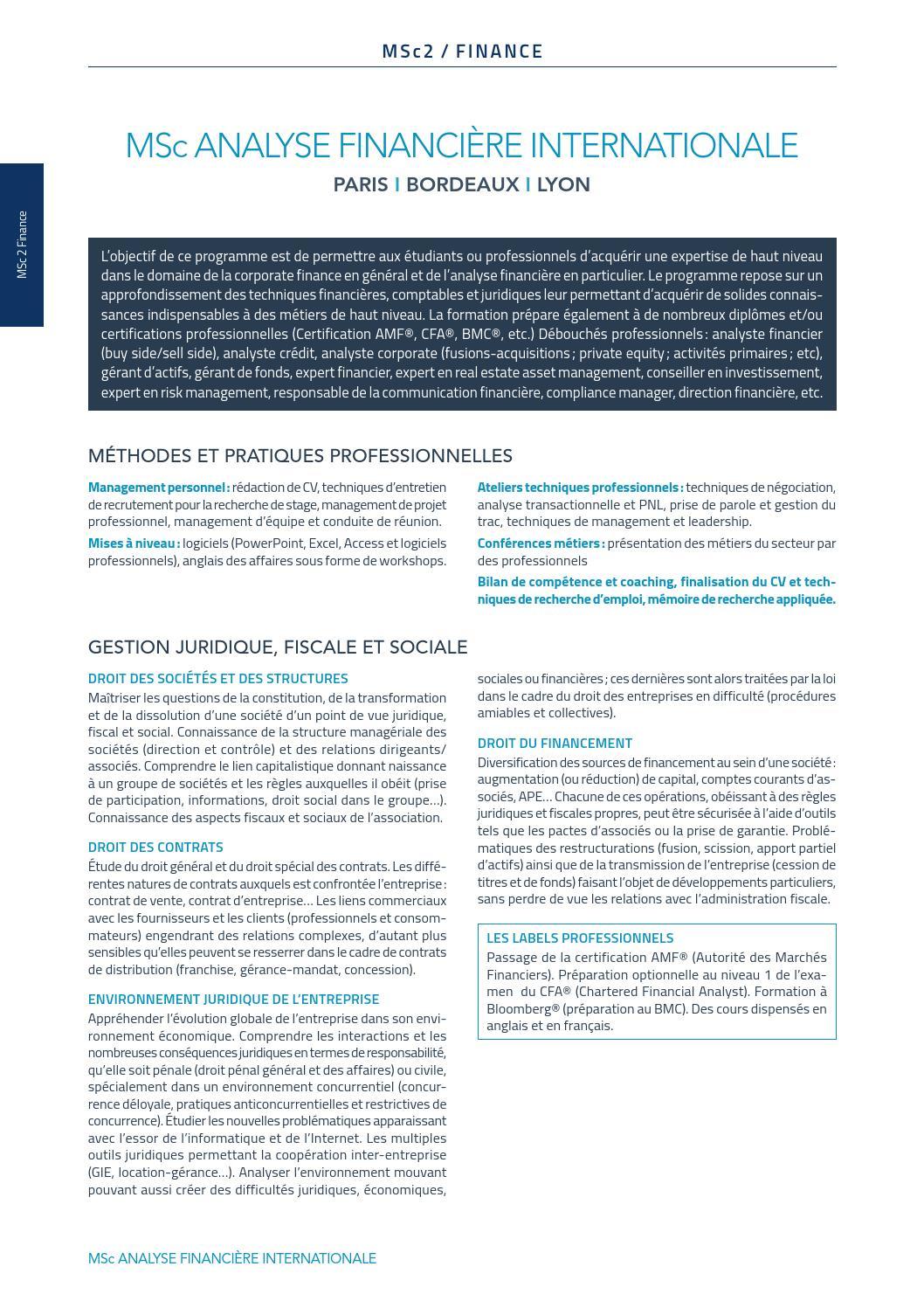 programme msc 2 analyse financi u00e8re internationale      groupe inseec by valentinlhoste