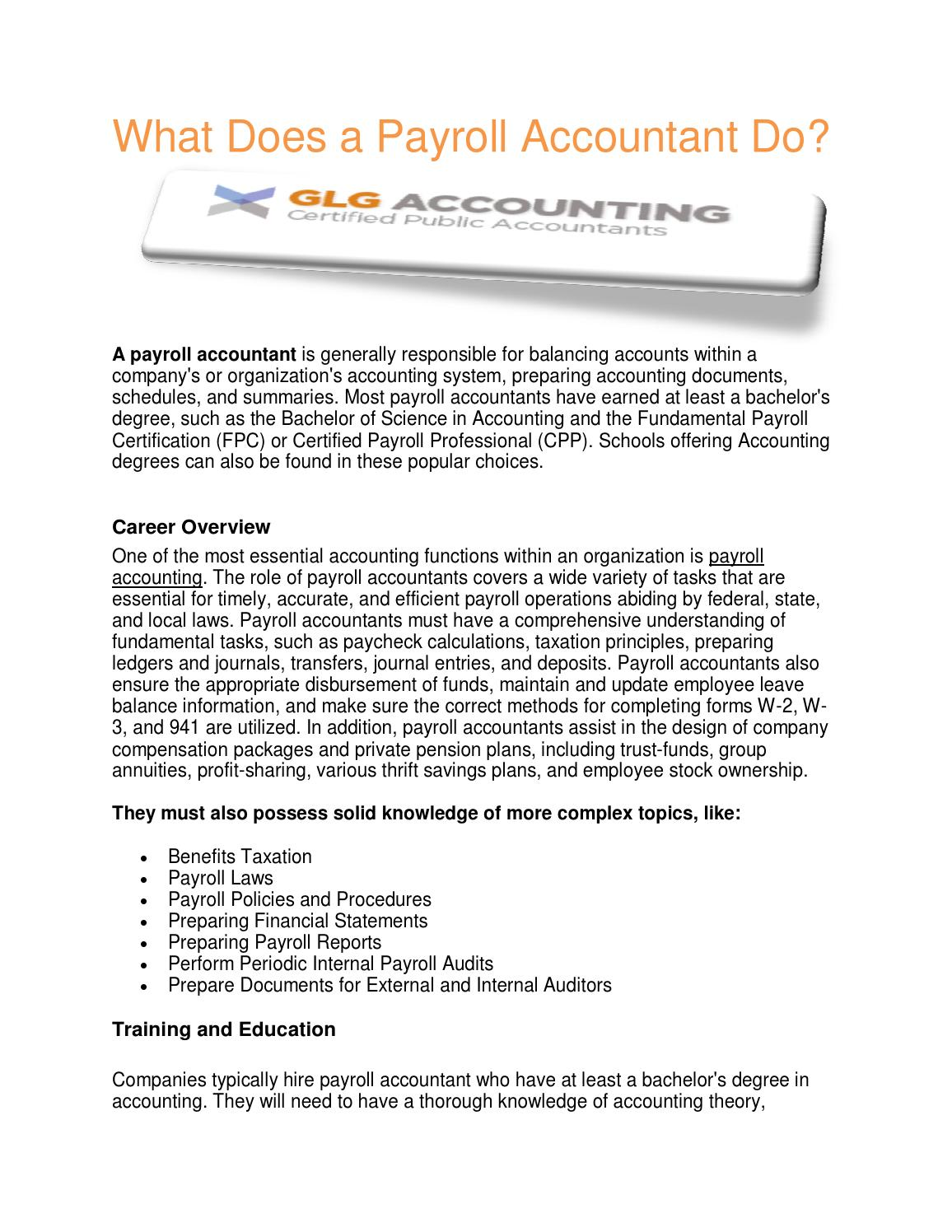 What Does A Payroll Accountant Do By Payrollaccount Issuu