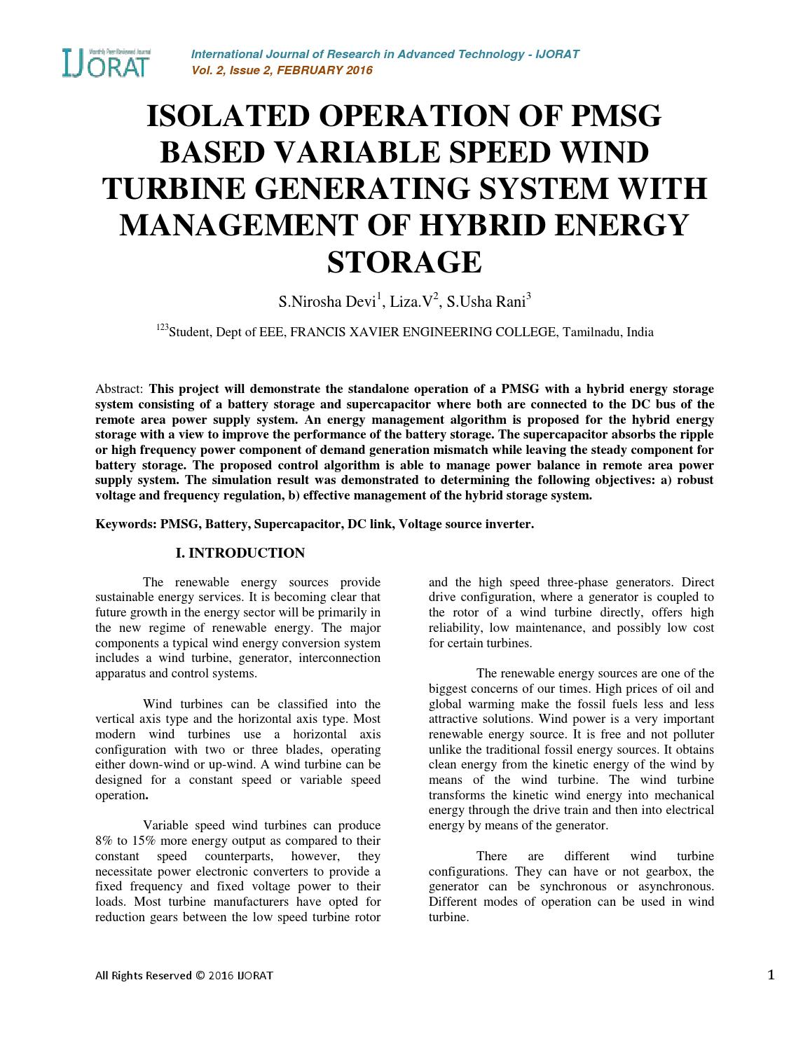 Isolated operation of pmsg based variable speed wind turbine