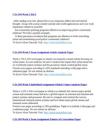 cja 394 week 5 dq 2 Cja 394 week 4 dq 2 cja 394 week 4 individual corrections trend evaluation cja 394 week 4 learning team futures of corrections paper cja 394 week 5 dq 1 cja 394 week 5 individual global crimes analysis cja 394 week 5 learning team article analysis.