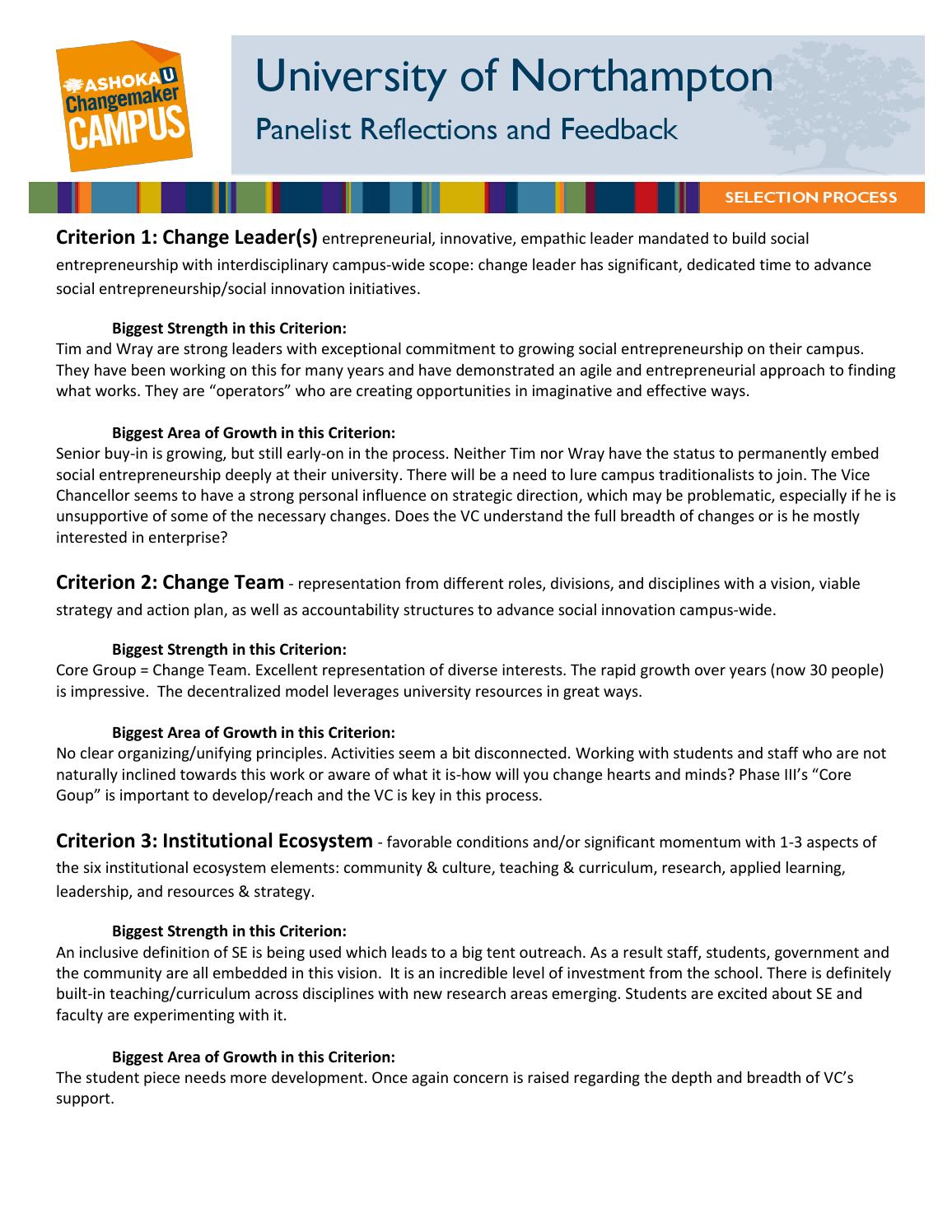 Northampton changemaker campus selection panel feedback by