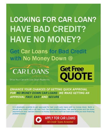 Get Car Loan For Bad Credit With No Money Down By