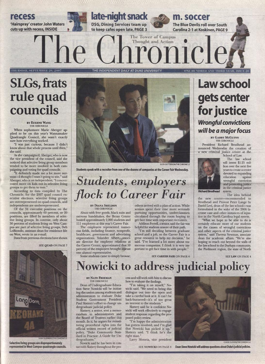 September 20 2007 By Duke Chronicle Print Archives Issuu