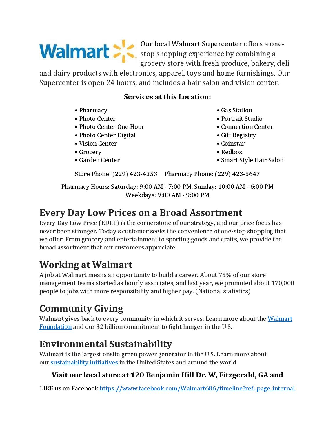 Walmart By Fitzgerald Ben Hill Chamber Of Commerce