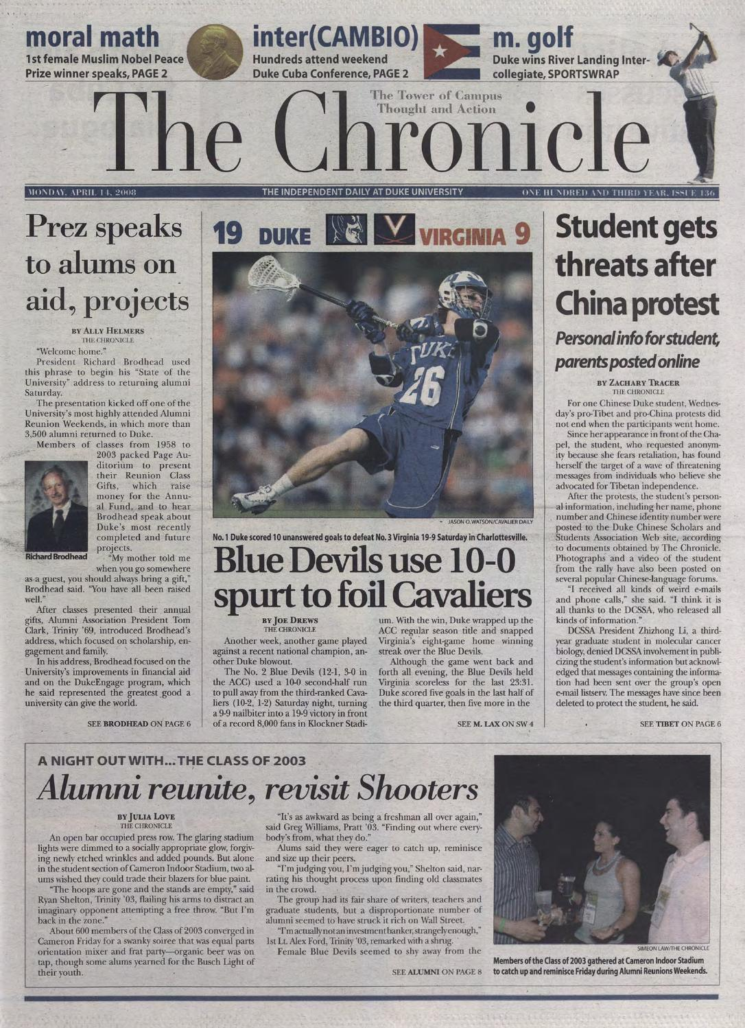 April 14, 2008 by Duke Chronicle Print Archives - issuu