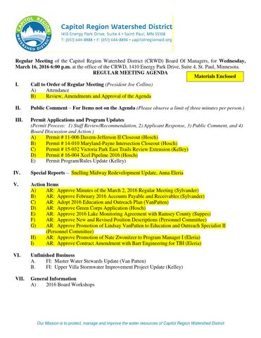 March 16, 2016 meeting packet by Capitol Region Watershed District