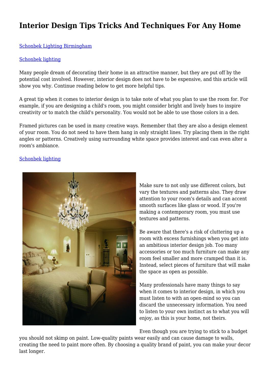Interior Design Tips Tricks And Techniques For Any Home By Wendidrahos1981 Issuu