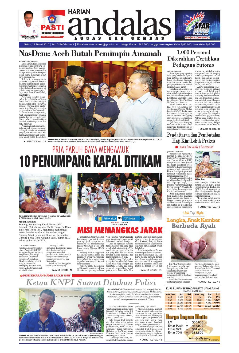 Epaper Andalas Edisi Sabtu 12 Maret 2016 By Media Issuu Produk Ukm Bumn Atasan Tenun Pria Lengan Pendek Hijau B