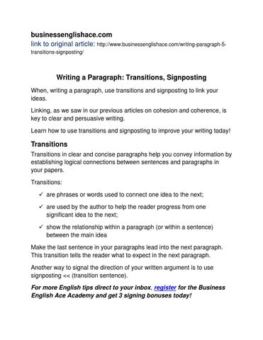 english writing transitions signposting by businessenglishace  businessenglishace com link to original article businessenglishace com writing paragraph 5transitions signposting