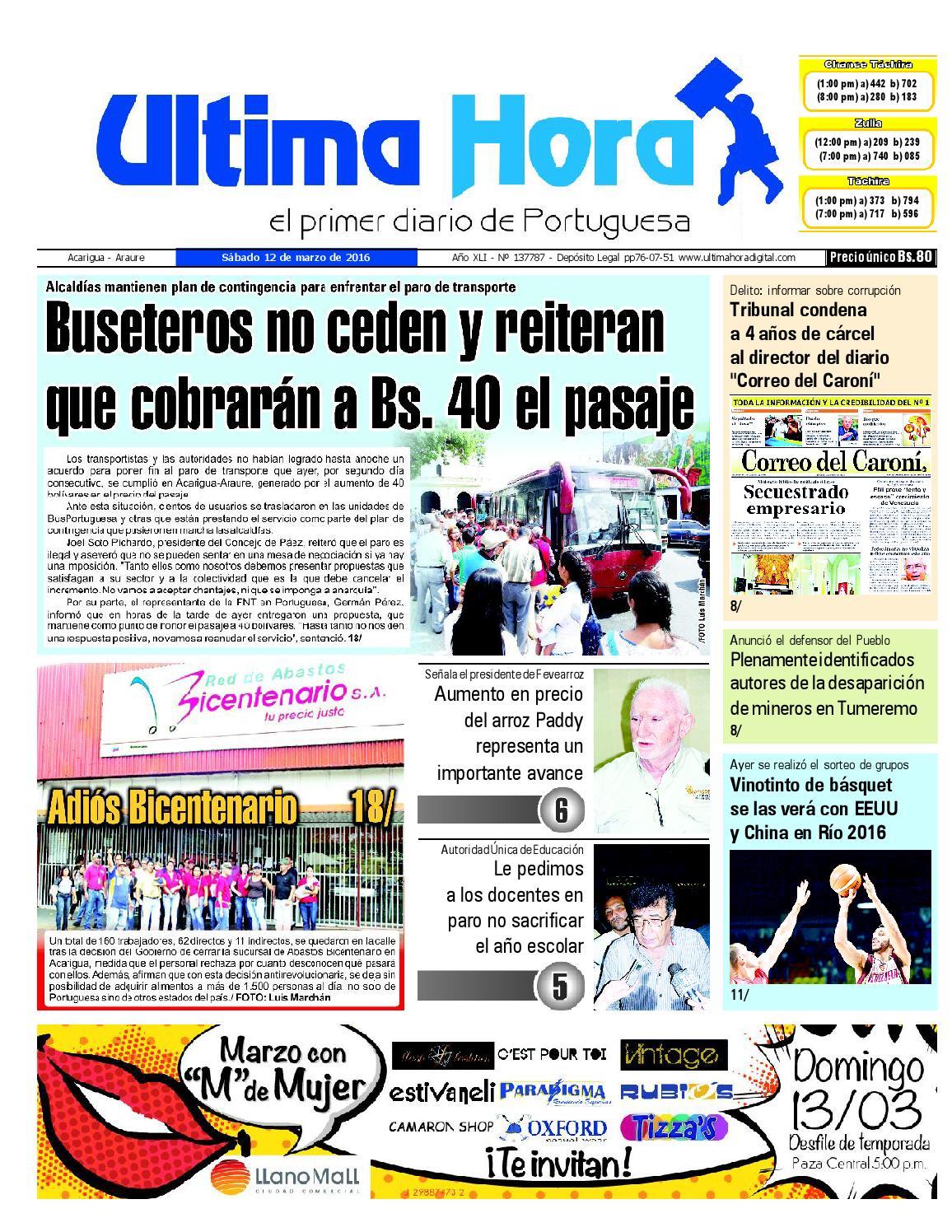Edición 12 03 2016 by Ultima Hora - El primer diario de Portuguesa ...