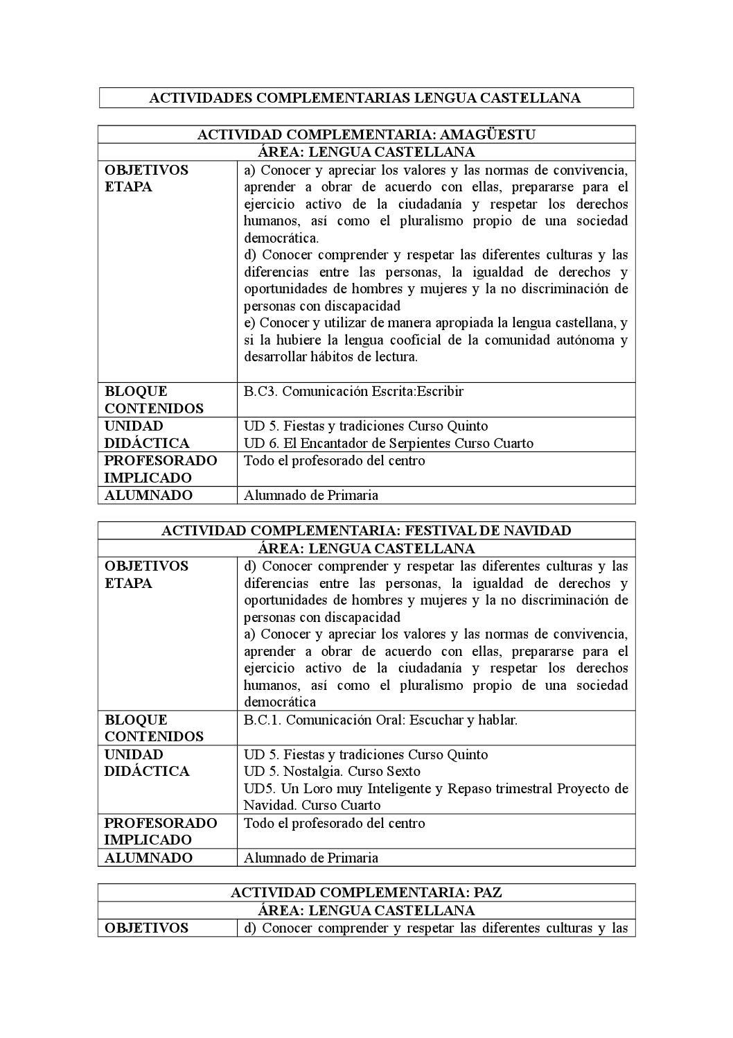 Actividades complementarias lengua castellana by ...