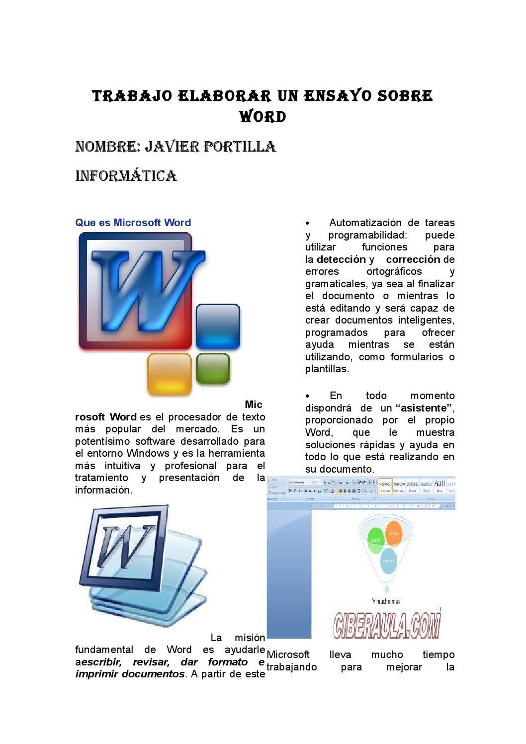 Trabajo elaborar un ensayo sobre word by javier portilla - issuu