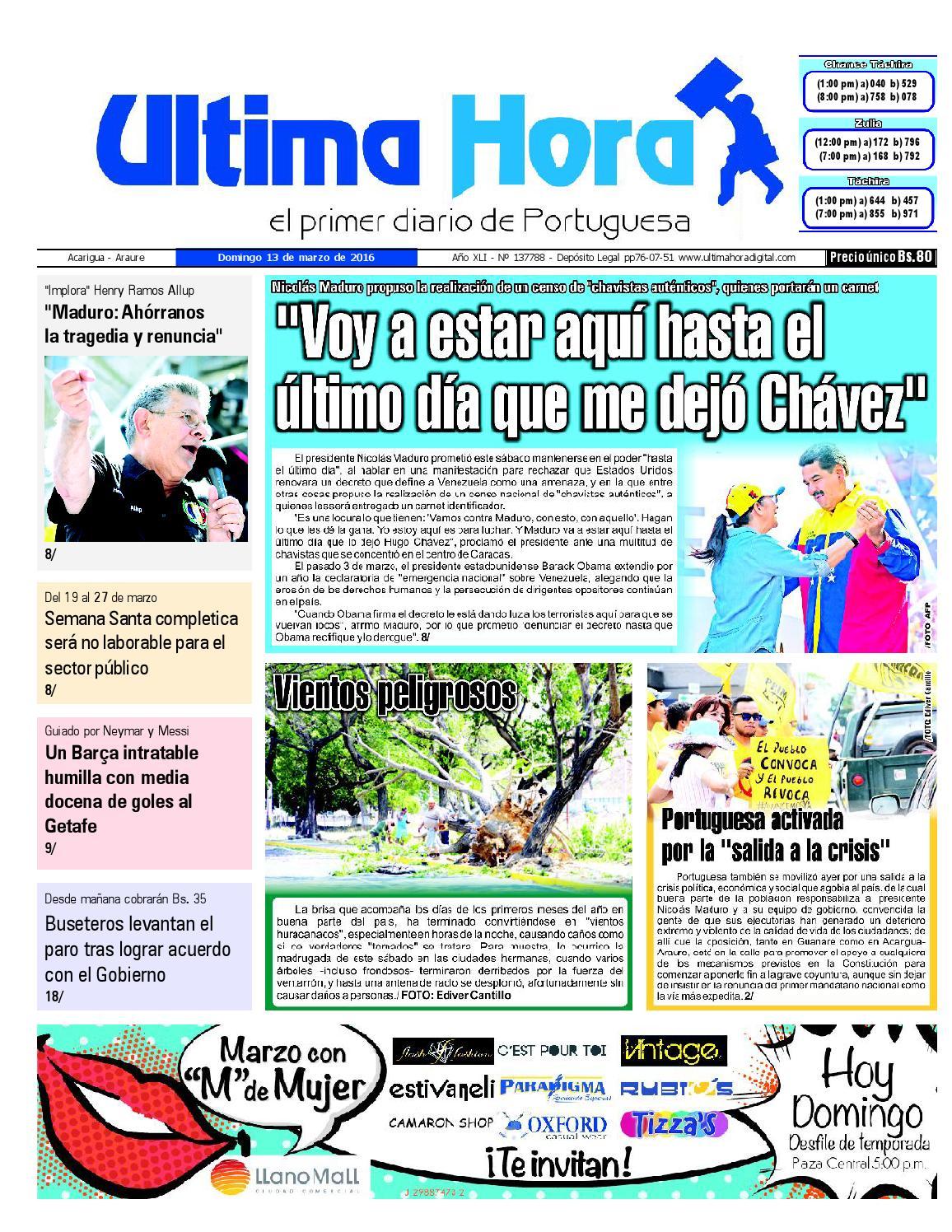 4581fa10ad Edición 13 03 2016 by Ultima Hora - El primer diario de Portuguesa - issuu