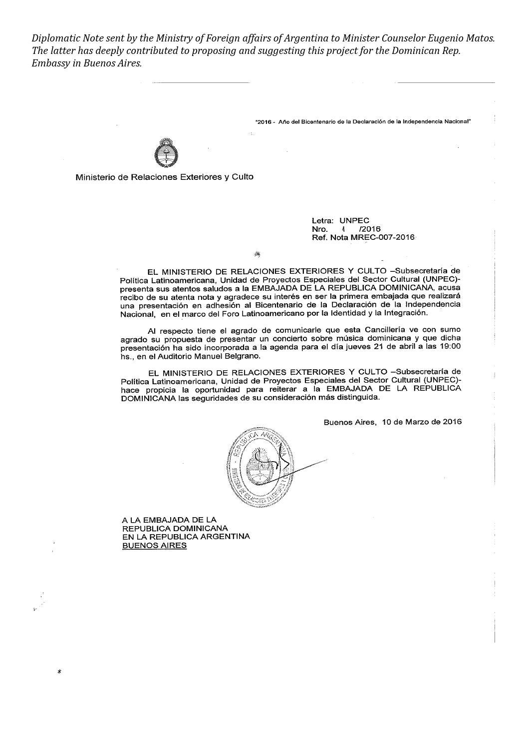 Example Of A Diplomatic Letter