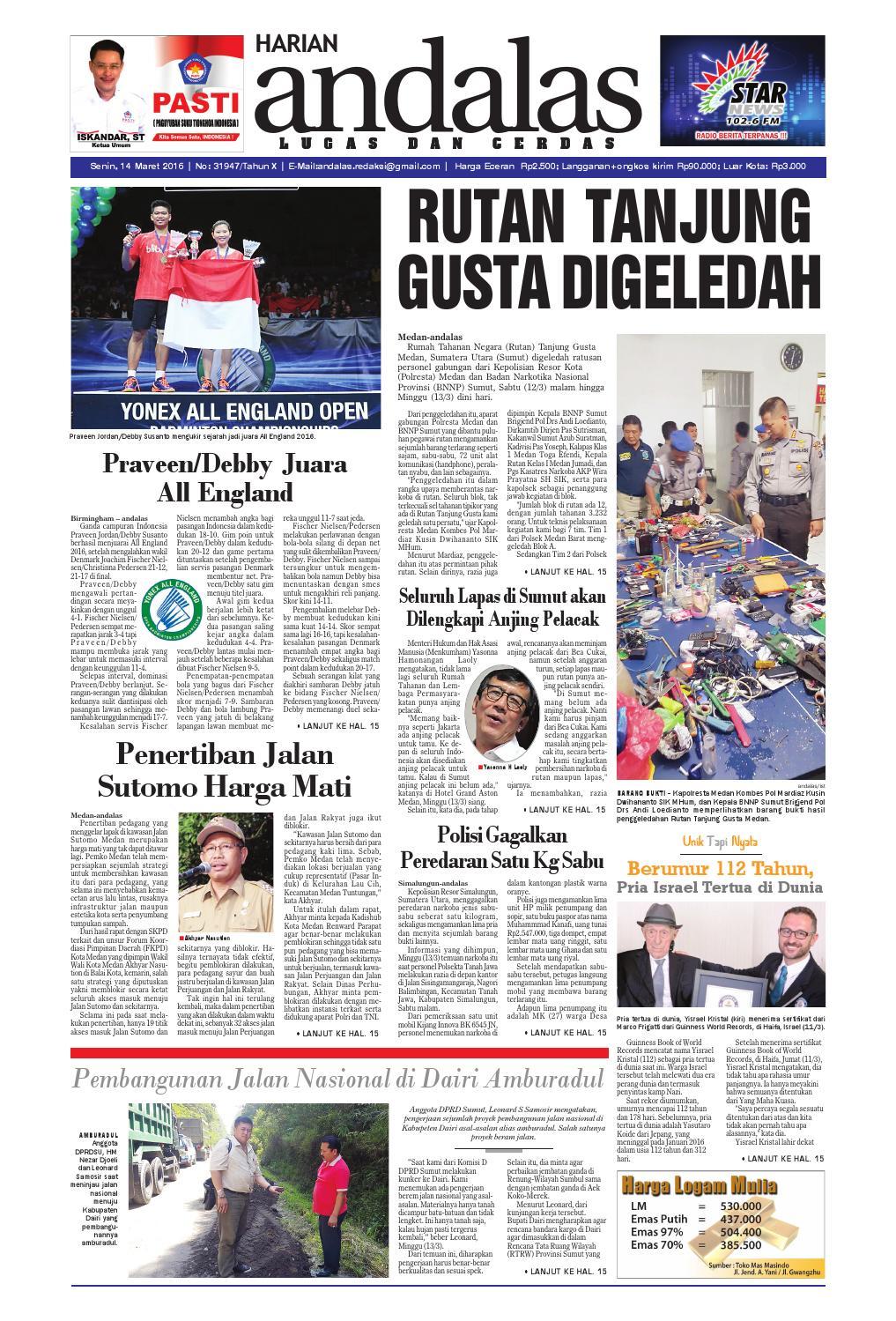 Epaper Andalas Edisi Senin 14 Maret 2016 By Media Issuu Fcenter Lemari Pakaian Wd Hk 1802 Sh Jawa Tengah