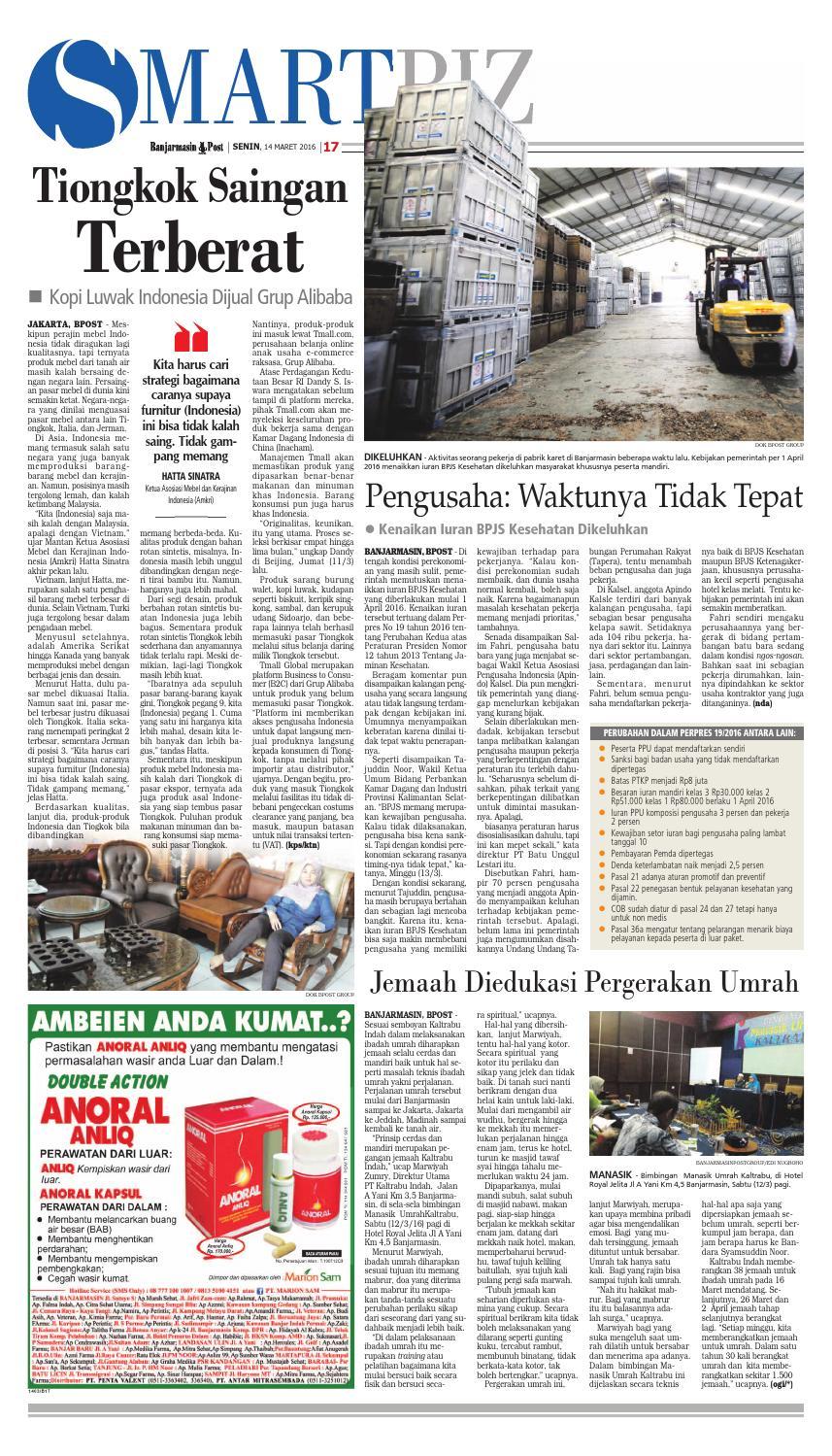 Banjarmasin Post Senin 14 Maret 2016 By Issuu Anoral Anliq Mengobati Wasir Parah