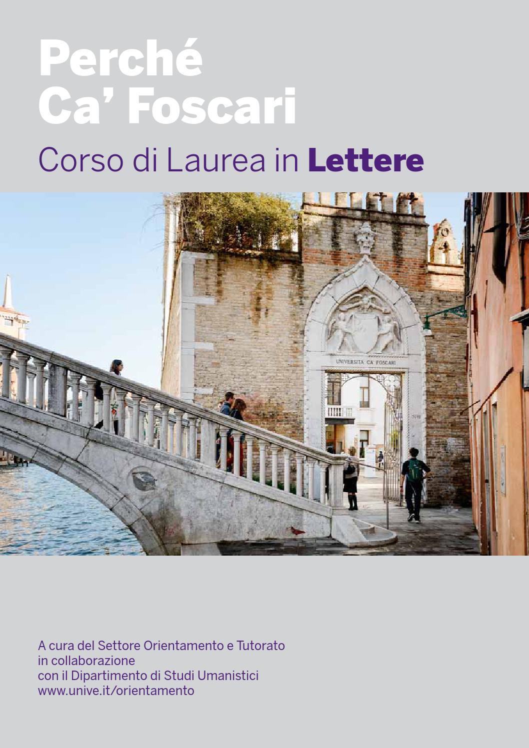 Calendario Lauree Ca Foscari.Perche Ca Foscari Lettere By Universita Ca Foscari