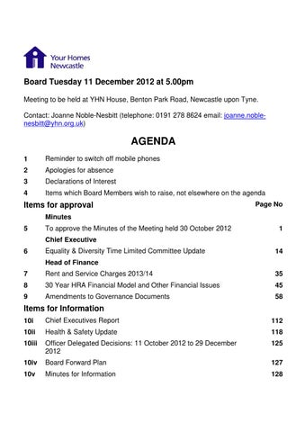 Yhn board non confidential 11 12 12 by Your Homes Newcastle