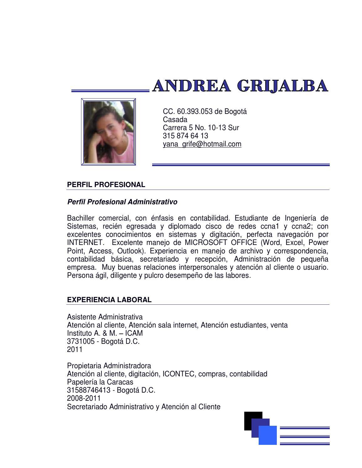 Fantástico Resumen Profesional Administrativo Adorno - Ejemplo De ...