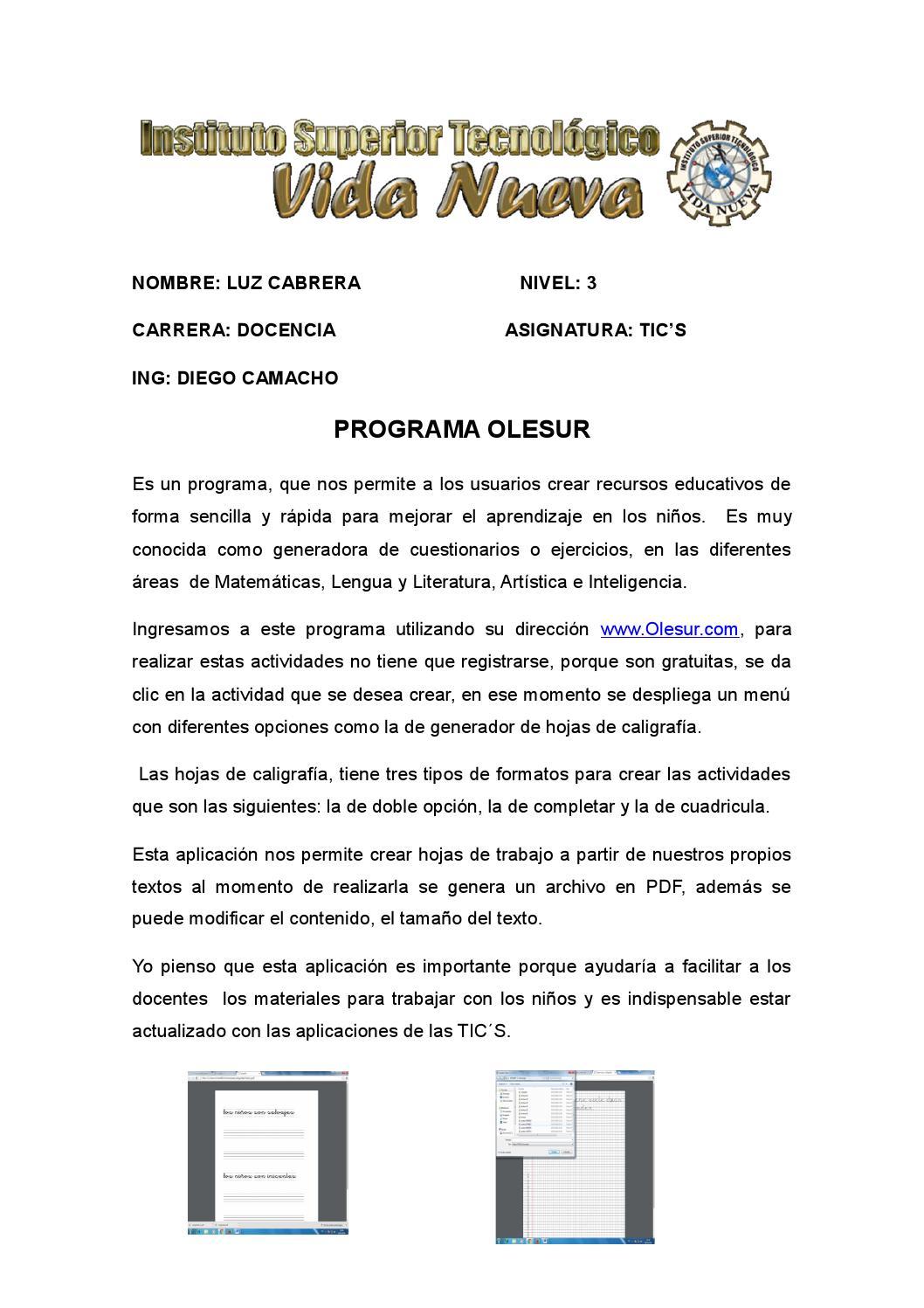 PROGRAMA OLESUR by LUZ AMERICA CABRERA CHAVEZ - issuu