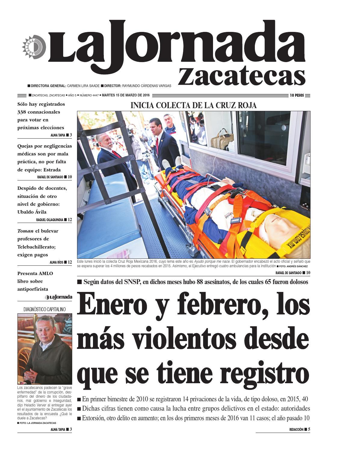 La Jornada Zacatecas Martes 15 De Marzo Del 2016 By La Jornada  # Muebles Tumoine