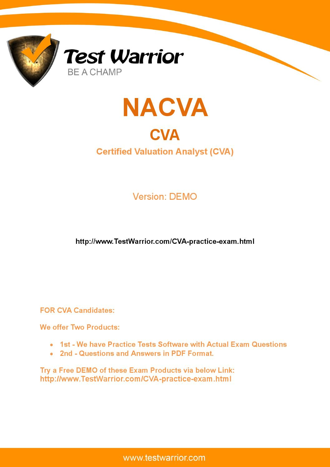 Real cva exam question samples for free by jeannie issuu 1betcityfo Choice Image