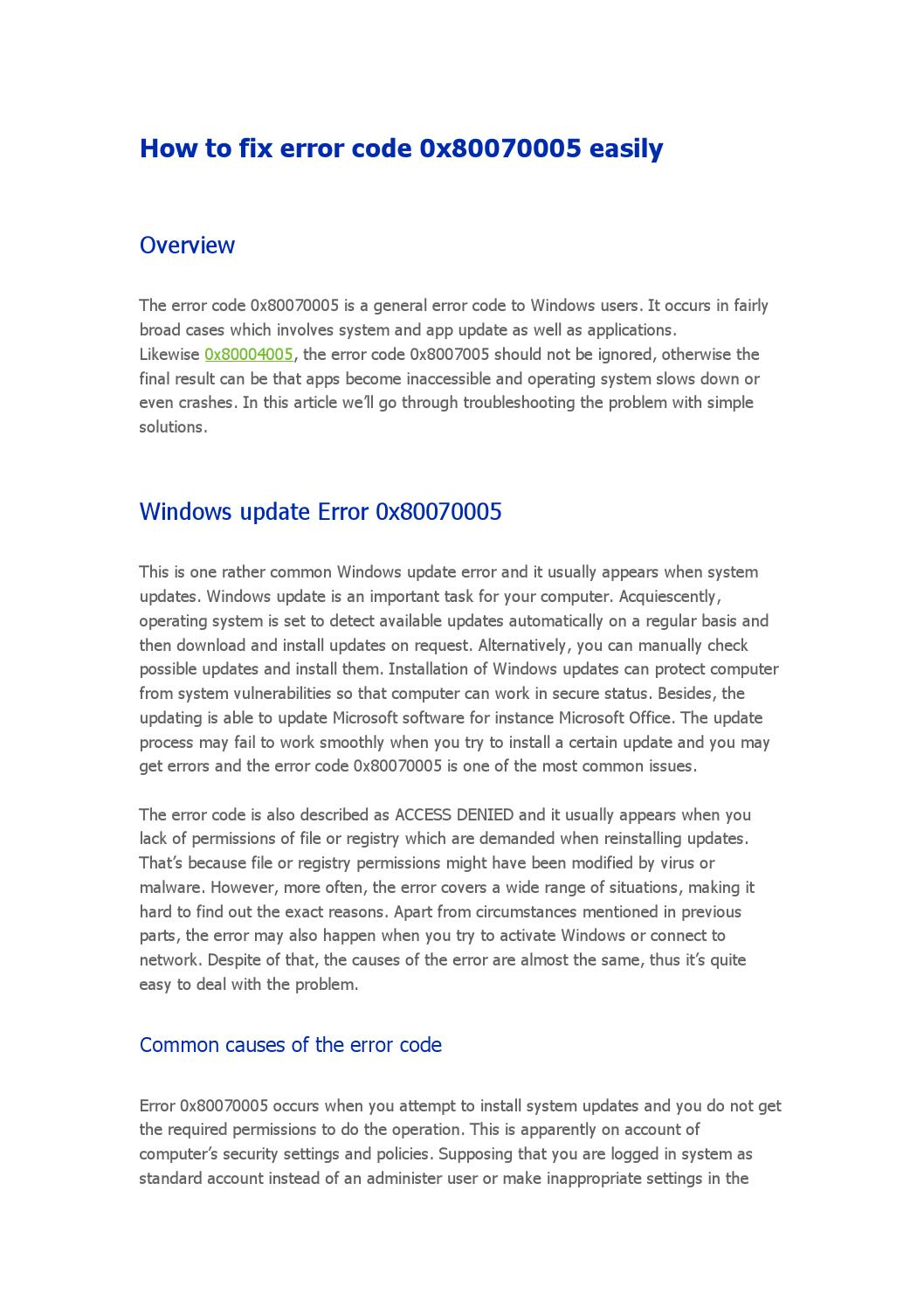 Fix error code 0x80070005 by yoramowen - issuu