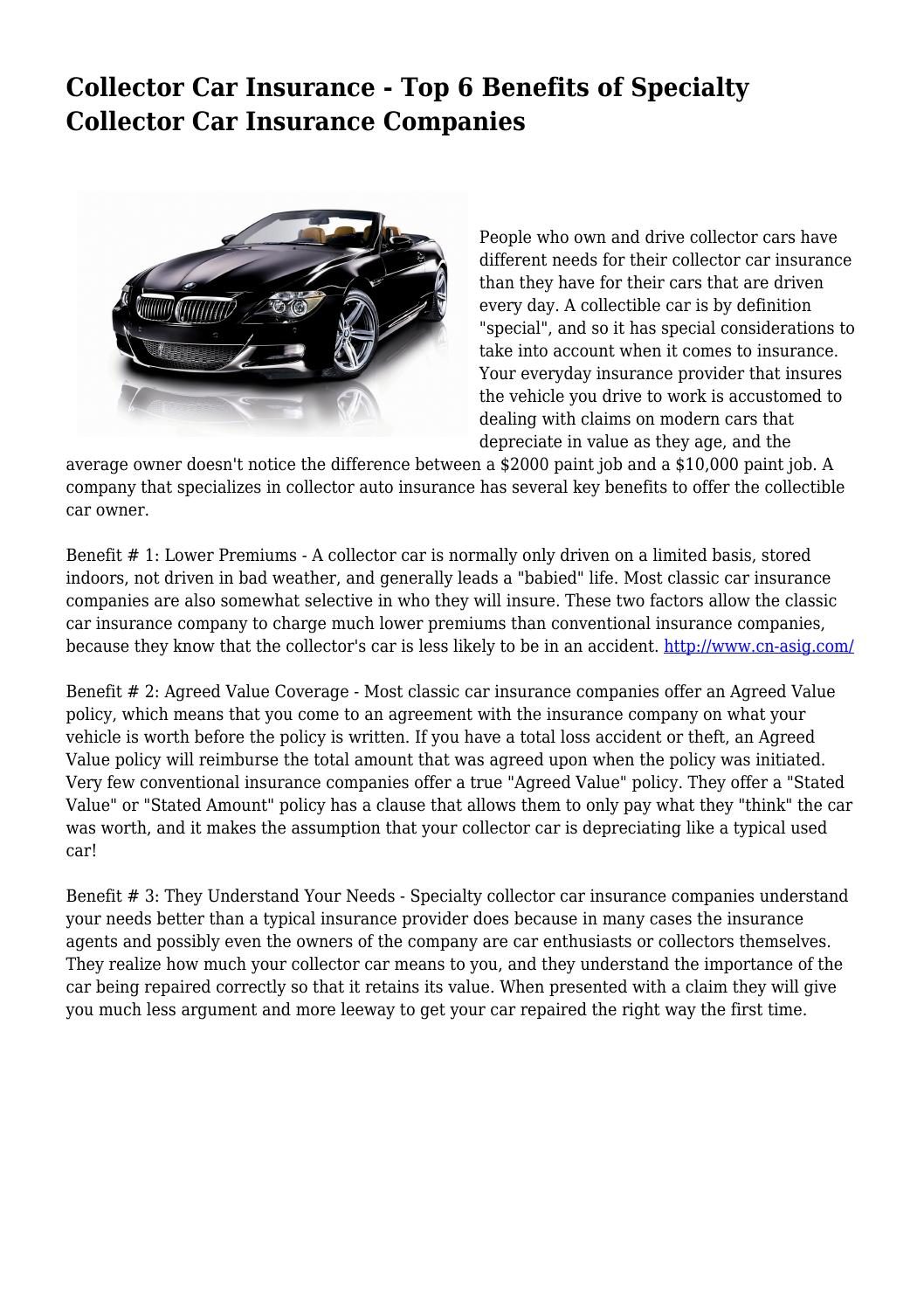 Collector Car Insurance Top 6 Benefits Of Specialty Collector Car Insurance Companies By Car1nsuranceonl1ne Issuu
