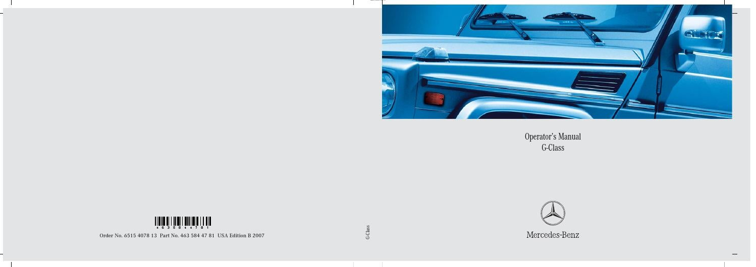 Mercedes g 463 2007 g500 g55 owner manual USA by Canada g