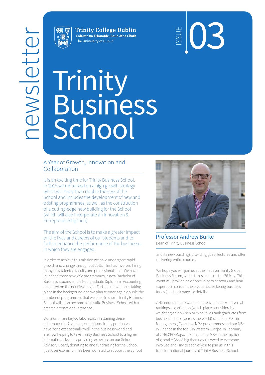 Trinity College Dublin Business School Newsletter by TCD