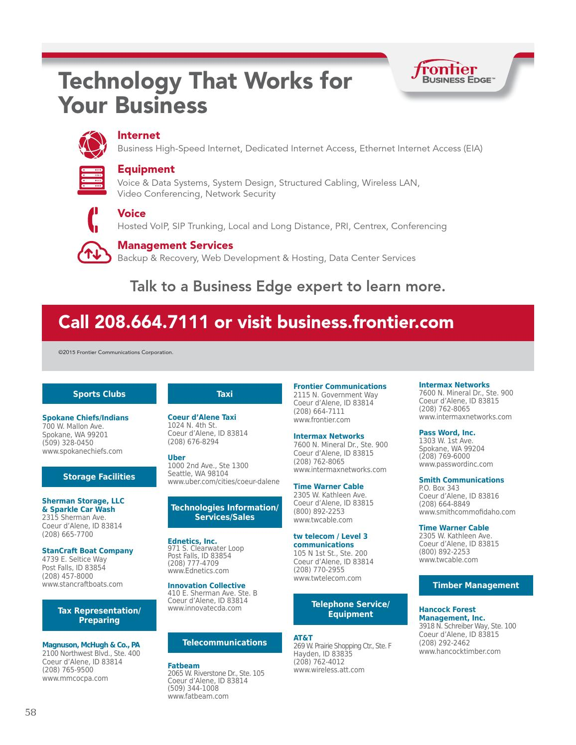 Cda Chamber 2016 Business Directory By Coeur D Alene Chamber Of Commerce Issuu