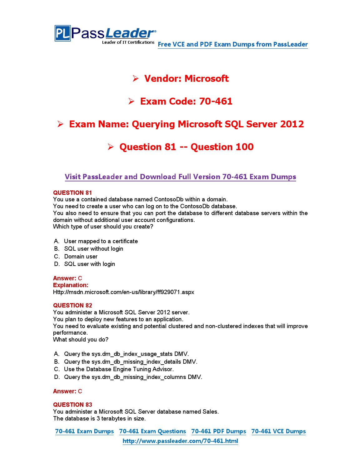 2016 new 70 461 exam dumps for free vce and pdf 81 100 by exam 2016 new 70 461 exam dumps for free vce and pdf 81 100 by exam dumps issuu xflitez Gallery