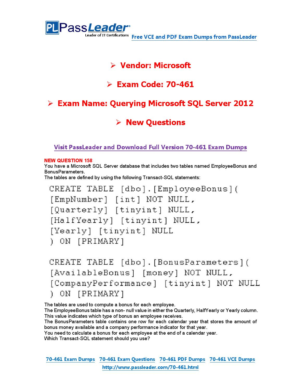 Mar 2016 New 70 461 Exam Dumps For Free Vce And Pdf By Exam Dumps