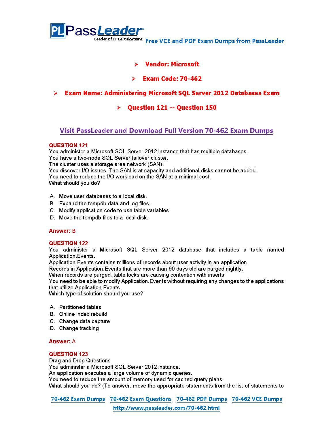 2016 New 70 462 Exam Dumps For Free Vce And Pdf 121 150 By Exam