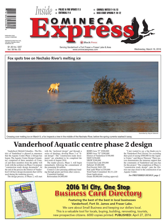 Vanderhoof Omineca Express, March 16, 2016 by Black Press Media