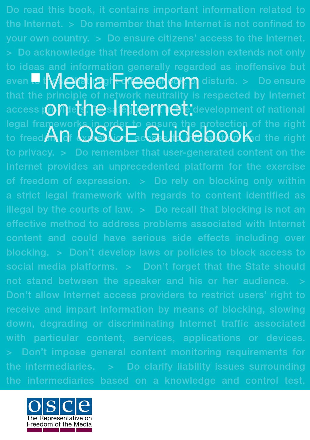 Media Freedom On The Internet An Osce Guidebook By Osce