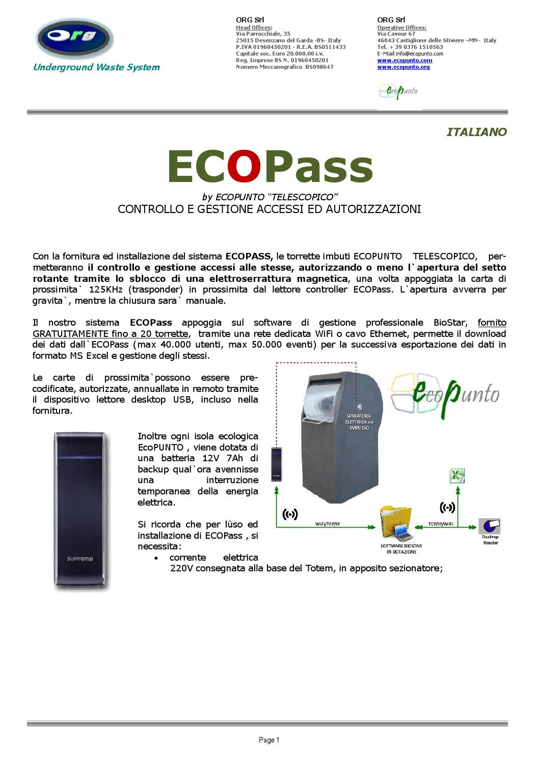 Isola Ecologica Castiglione Delle Stiviere ecopass - the data device for ecopunto by ecopunto - issuu