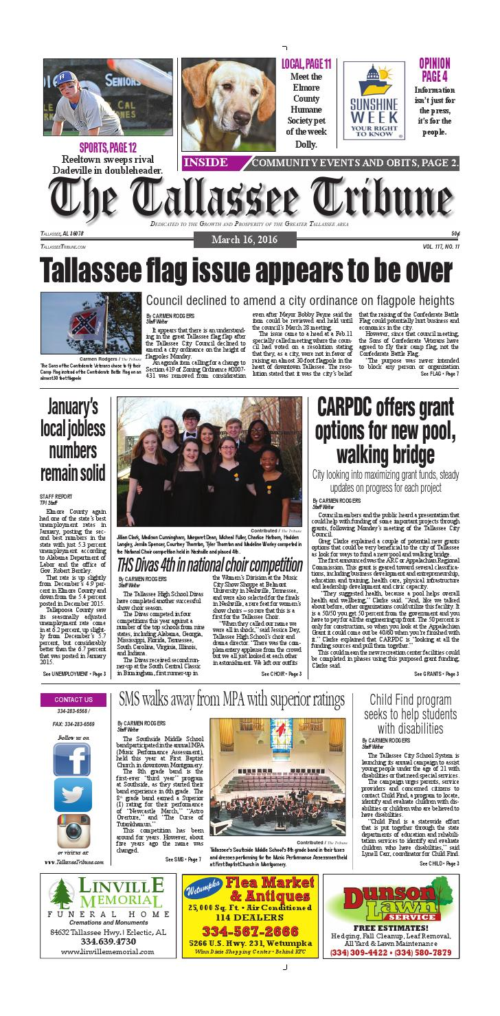 March 16 2016 Tallassee Tribune By Tallapoosa Publishers Issuu