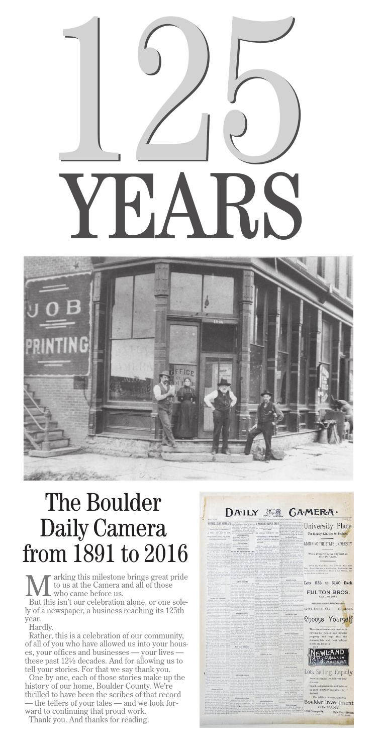 125 Years ~ The Boulder Daily Camera from 1891 to 2016 by Prairie ...